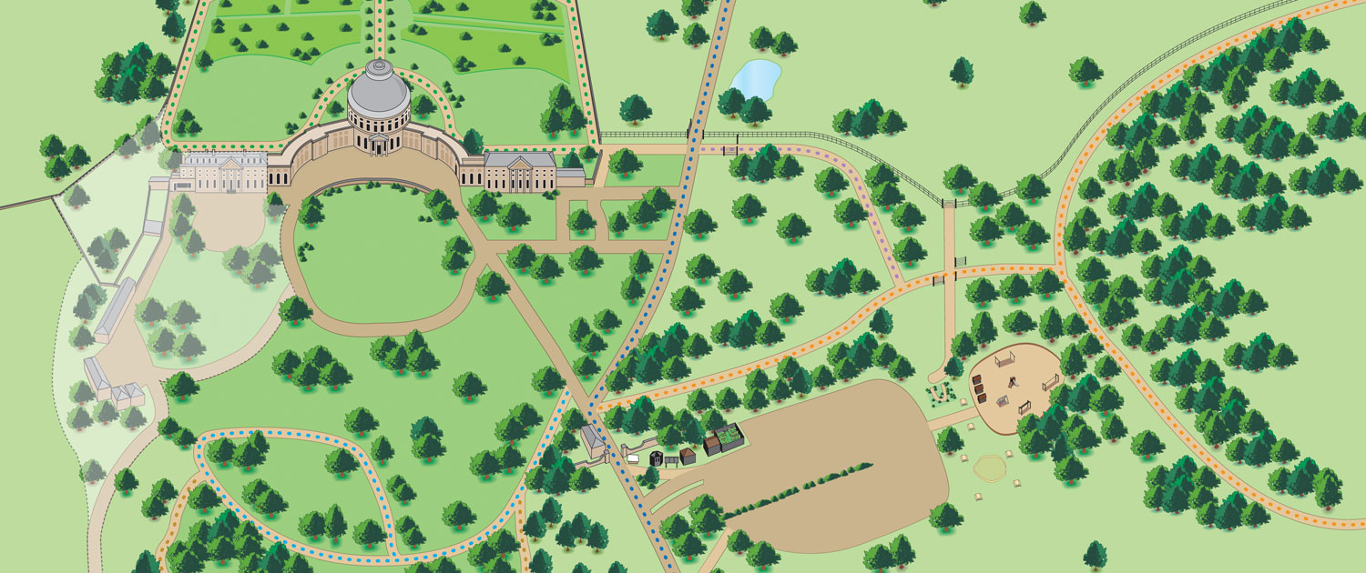 Illustration of grounds of Ickworth house
